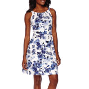 R&K Originals® Sleeveless Halter Floral Fit-and-Flare Dress