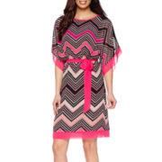 R&K Originals® Kimono-Sleeve Chevron Blouson Dress