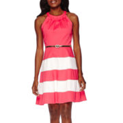 R&K Originals® Sleeveless Colorblock Belted Fit-and-Flare Dress