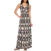 St. John's Bay® Sleeveless Surplice-Neckline Peasant Maxi Dress