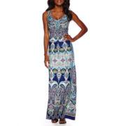 RN Studio by Ronni Nicole Sleeveless Scroll Print Embellished Maxi Dress