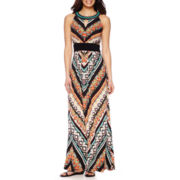 RN Studio by Ronni Nicole Sleeveless Aztec Print Beaded Necklace Maxi Dress