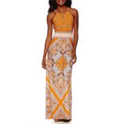 London Times Sleeveless Keyhole Halter Print Maxi Dress