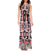 London Style Collection Sleeveless Print Maxi Dress