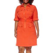 3/4-Sleeve Zip-Front Shirt Dress - Plus