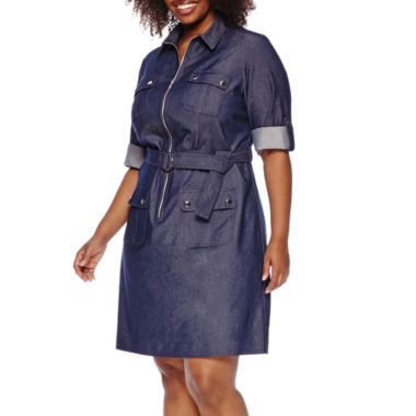 jcpenney.com | Sharagano 3/4-Sleeve Roll-Tab Denim Zip-Front Shirt Dress - Plus