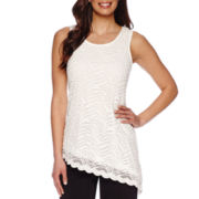 Blu Sage Sleeveless Scoopneck Zebra Lace Tank Top