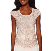 Be by CHETTA B Short-Sleeve Scoopneck Beaded Top
