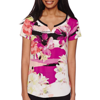 jcpenney.com | Worthington® Short-Sleeve Notch Neck Top - Tall