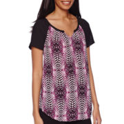 Worthington® Short-Sleeve Notch Neck Top - Tall
