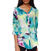 Worthington® Long-Sleeve Button-Front Roll-Tab Tunic - Tall