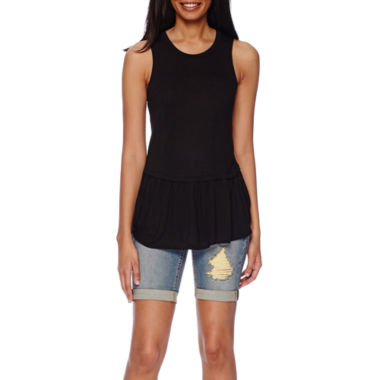 jcpenney.com | a.n.a® Peplum Tank Top or Cuffed Denim Bermuda Shorts - Tall