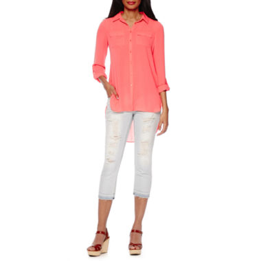 jcpenney.com | a.n.a® Long-Sleeve Two Pocket Shirt or Boyfriend Released Hem Cropped Pants - Tall