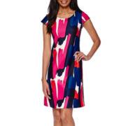 Tiana B. Short-Sleeve Scuba Dress - Tall