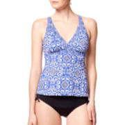 Jamaica Bay® Royal Tile Framed V-Neck Tankini Swim Top And Adjustable-Leg Brief Swim Bottoms