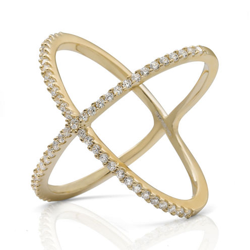 """Cubic Zirconia 14K Yellow Gold Over Silver """"X"""" Ring"""
