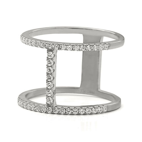 Cubic Zirconia Double Bar Sterling Silver Ring