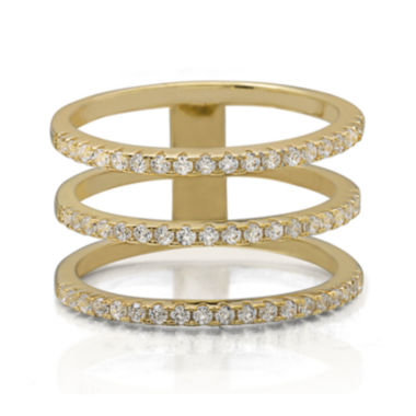jcpenney.com | Cubic Zirconia Triple-Row 14K Yellow Gold Over Silver Ring