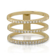 Cubic Zirconia Triple-Row 14K Yellow Gold Over Silver Ring