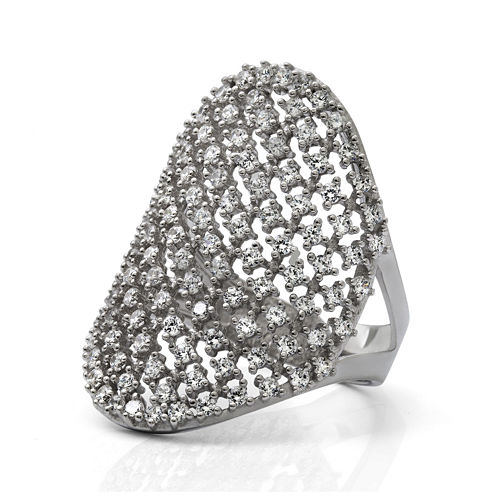 Cubic Zirconia Sterling Silver Saddle Ring
