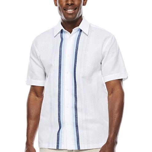 The Havanera Co.® Short-Sleeve Engineered Stripe Panel Shirt