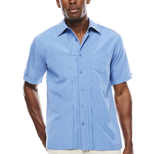 The Havanera Co.® Short-Sleeve Geo Placket with Pocket Shirt