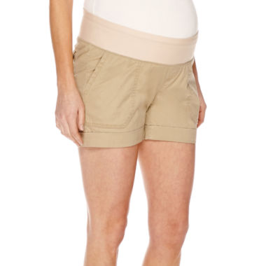jcpenney.com | a.n.a® Maternity Relaxed-Fit Poplin Shorts-Plus