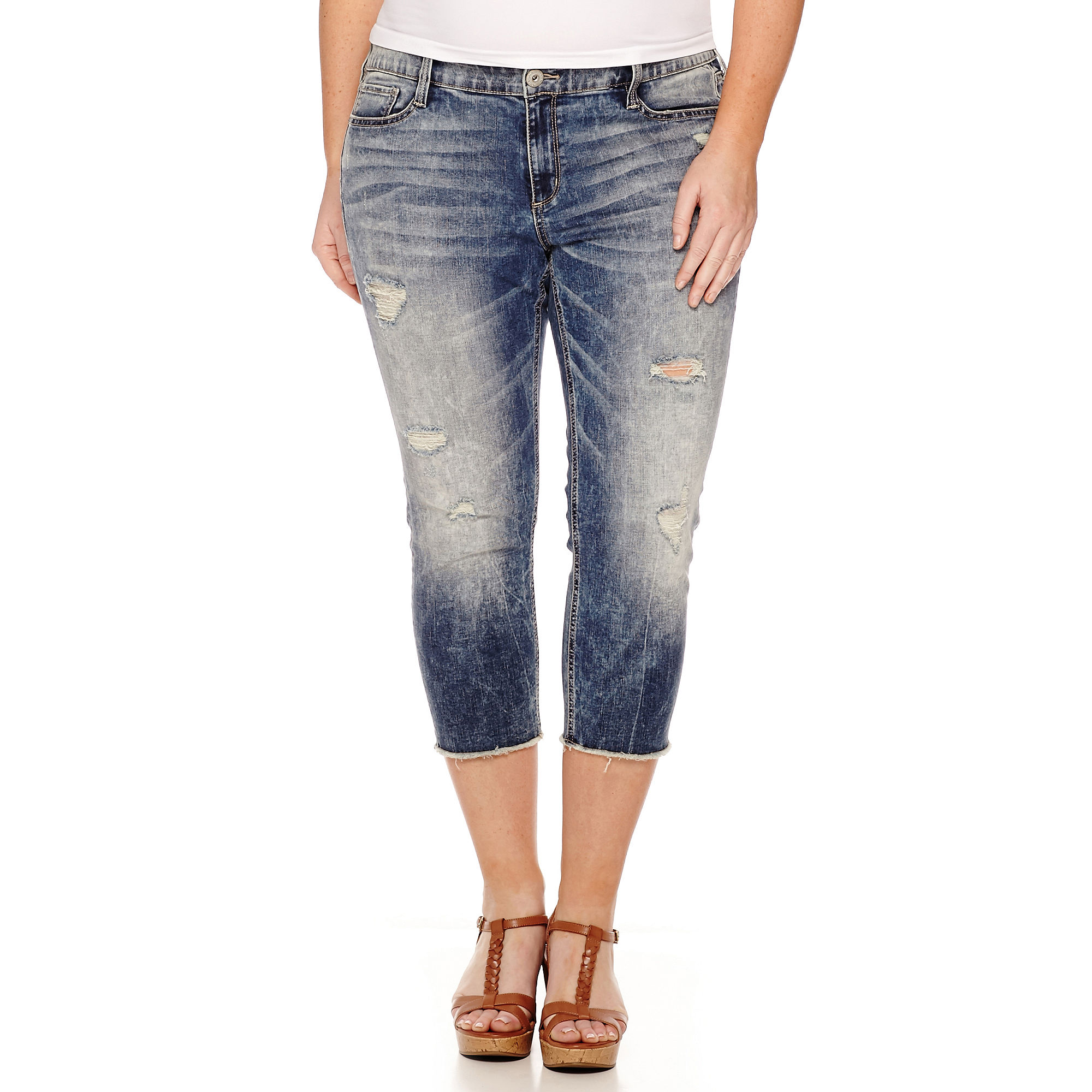 Arizona Raw Edge Cropped Jeans - Juniors Plus plus size,  plus size fashion plus size appare