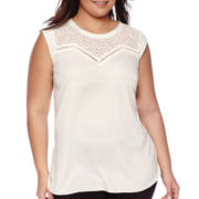 Worthington® Contrast Yoke Knit Tank Top - Plus