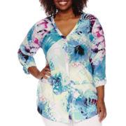 Worthington® Roll-Tab Long-Sleeve Tunic Blouse - Plus