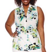 Worthington® Sleeveless Button-Front Blouse - Plus