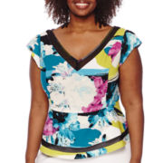 Worthington® Short-Sleeve V-Neck Peplum Top - Plus