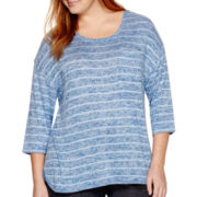 Liz Claiborne® 3/4-Sleeve Striped Knit Top - Plus