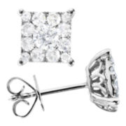 1/2 CT. T.W. Diamond Cluster Earrings 14K White Gold
