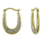 Small Oval Two-Tone Hoop Earrings 10K Gold