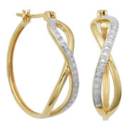 Diamond Accent Criss Cross Hoop Earrings 14K Gold Over Sterling Silver