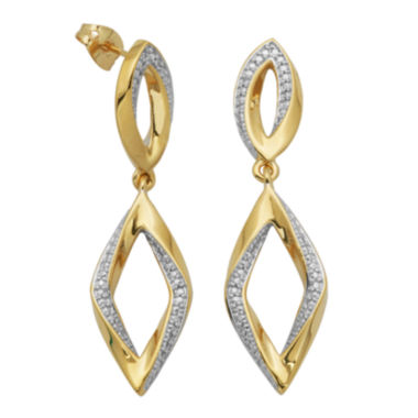 jcpenney.com | 14K Gold over Sterling Diamond-Accent Diamond-Shaped Earrings