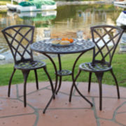 Modern 3-pc. Cast Aluminum Outdoor Bistro Set