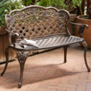 Lucia Outdoor Cast Aluminum Garden Bench