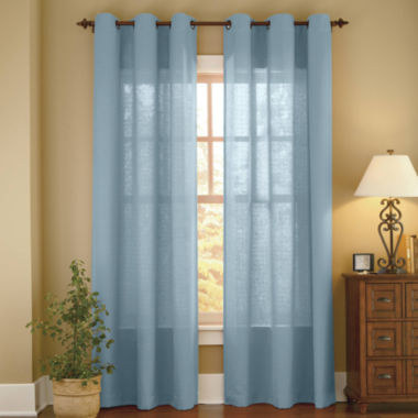 jcpenney.com | Linden Street™ Solid Textured Grommet-Top Sheer Panel