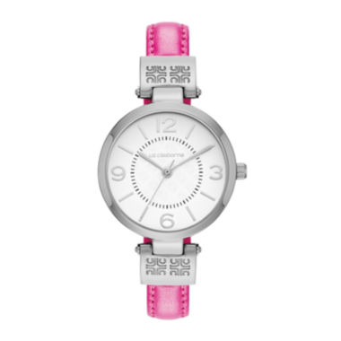 jcpenney.com | Liz Claiborne® Icon Womens Pink Leather Strap Watch