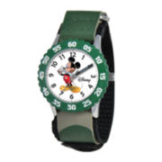Disney Time Teacher Mickey Mouse Kids Green Watch