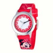 Disney Time Teacher Minnie Mouse Kids Red Strap Watch