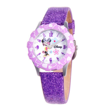 jcpenney.com | Disney Minnie Mouse Glitz Tween Purple Leather Strap Watch