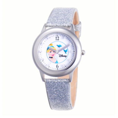 jcpenney.com | Disney Cinderella Glitz Tween Silver Leather Strap Watch