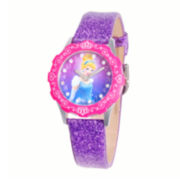 Disney Cinderella Glitz Tween Purple Leather Strap Watch