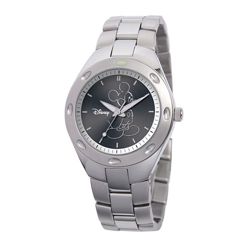Disney Fortaleza Mickey Mouse Mens Silver-Tone Watch