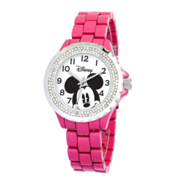 jcpenney.com | Disney Mickey Mouse Womens Pink Enamel Watch with Crystals