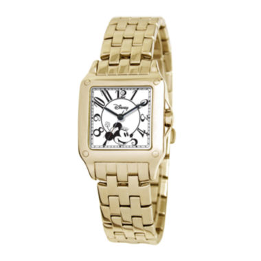 jcpenney.com | Disney Perfect Square Minnie Mouse Womens Gold-Tone Watch