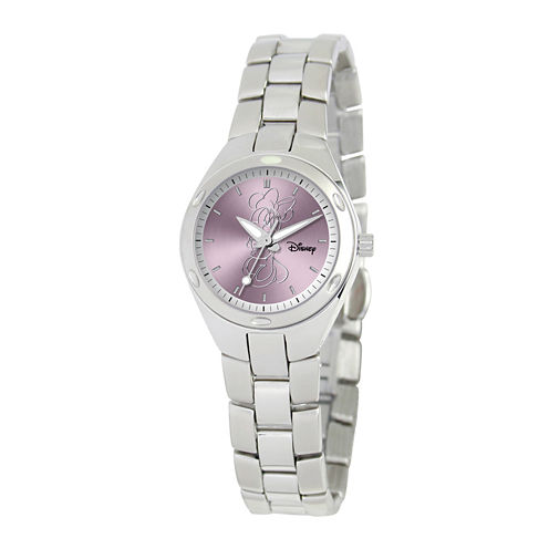 Disney Fortaleza Minnie Mouse Womens Silver-Tone Watch